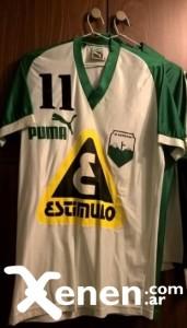 Camiseta de Deportivo Armenio de 1988. Usada por Walter Oudoukian. El verde fue el color adoptado por el club en épocas gloriosas.