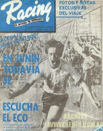 ¡Gritelo Camote! Su primer gol profesional. 21 de abril de 1985. Victoria 2 a 1 de la Academia ante Sarmiento en Junín. Tiempos duros de Racing en la B.