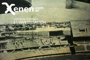 Imagenes de la construcción de la actual Tribuna Sívori baja y media. De fondo se pueden ver los barrios bajos de Belgrano y  Palermo...