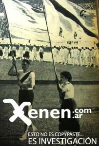 Las banderas de la República y de  River Plate flamean de la mano de los abanderados. Una fiesta única la que se vivió aquella tarde del feriado 25/5/1938