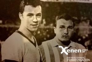Franz Beckenbauer y Miguel Angel Mori. Racing cerró el año con un amistoso cinco estrellas.