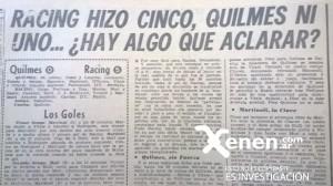 El título de Crónica no deja lugar a dudas. Quilmes 0 - 5 Racing.