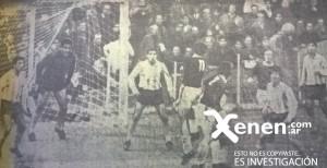 Al equipo no sólo atacaba: defendía con solidez. Ante el avance calamar, Martín, Carrizo, Chabay (tapado), Vilanoba (debutante) y Díaz.