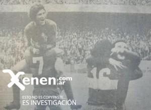 Bordolini Felman lleva en andas al Conejo Tarantini. El abrazo de Patota Potente con el héroe: Hugo Paulino Sánchez. Un partido histórico. Único.
