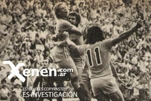 12 de diciembre de 1976. Festejo enloquecido luego del gol de taco a Racing.