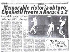 Enero de 1978. Cipolletti de Río Negro deja afuera a Boca del Nacional. Una gran victoria del equipo del Alto Valle.