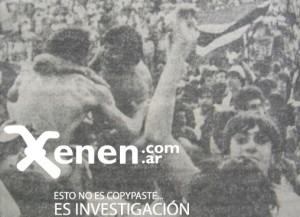 22 de noviembre de 1981. Festejo tricolor en La Paternal. Chacarita dejaba la Primera C.