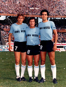 22 de noviembre de 1981. Orte junto a Squeo y Husillos. Igualdad 0 a 0 en el Monumental.