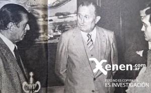 Martín Benito Noel y Enrique Taddeo, presidentes de Boca y Racing, atendiendo a la prensa.