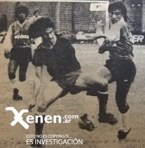 1 de noviembre de 1986. Maxi Cincunegui y Walter Parodi luchan por el balón. Armenio y Colón igualaron 2 a 2.