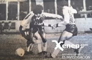 20 de septiembre de 1986. Armenio 2 - 2 Lanús. Luis Villarreal sortea la marca de Fabián De Sarasqueta.