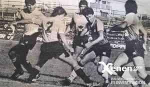 28 de marzo de 1987. Toda la defensa de Atlético Concepción rodea a Maximiliano Cincunegui. Armenio goleó 4 a 0 a los tucumanos.