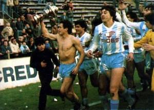 Agosto de 1987. Sus primeros partidos en Racing. Triunfo amistoso ante Boca en Vélez Sársfield.