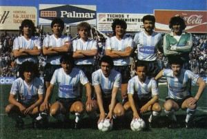 Racing de Córdoba modelo 1987/88: Escobedo, Noriega, Quiñones, Chazarreta, Serrizuela, Ramos. Abajo: Amuchástegui, Roldán, Bianco, Chaparro y Ferreyra.