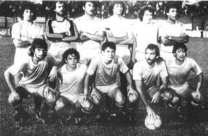 6 de mayo de 1987. El equipo de Temperley que perdió la categoría: Pavón, Puentedura, Marioni, Tanucci, Dalla Libera, Ruiz; Barrella, Matuszcycz, Ballejo, Dobrowski y Cabrera.
