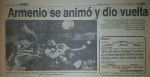 10 de marzo de 1988. Una noche gloriosa. River vencía 2 a 0 a Armenio. Wensel marcó los tres goles y dio vuelta el partido en el Monumental.