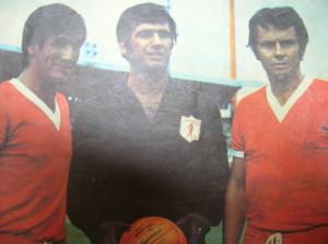 Año 1972. Junto a Cruz y Toriani vistiendo la camiseta de América de Cali.