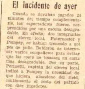 Suelto sobre el incidente de junio de 1931: Natalio expulsó a su propio compañero Juan Pompey.